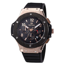 Megir CHRONOGRAPH & 24 Hours Function Strong Silicone Strap Gold Case Luxury Watch Top Brand Men Watch relogio masculino