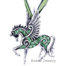 2016 New mix color Crystal Pegasus Fly Horse Pendant with Ribbon Rope Lobster Clasp Necklace Costume
