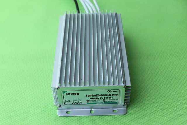 waterproof led power supply;AC90-250V input; 5V/100W output;IP68;CE and ROHS;