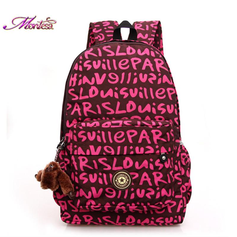 Women backpack Nylon Waterproof backpacks Female Casual Sport Travel women backpack flower mochila feminina + gift monkey(China (Mainland))
