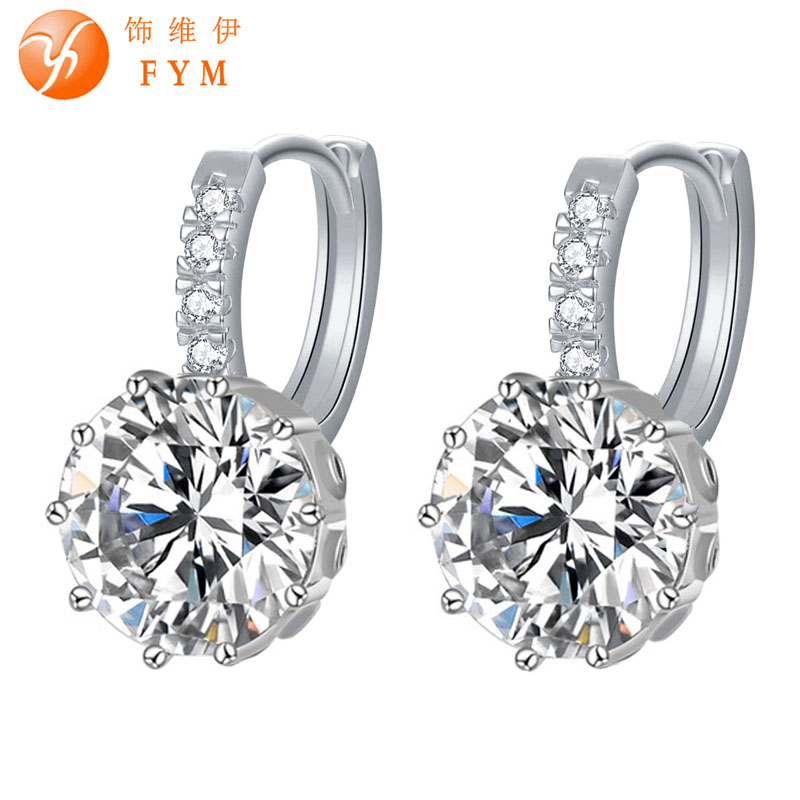 FYM 2016 Jewelry Newest Style Gold Plated Rhinestone Crystal Pierced Earrings For Women Woman Jewelry Wedding Party Gift(China (Mainland))