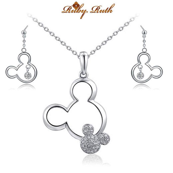 jewelry sets bridal Mickey Fashion wedding Rose gold austrian crystal jewellery set women earing and necklace rhinestone bridal