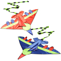 Kids Flying Kite Novelty Cartoon Design Airplane Shape Kites with Long Tails Outdoor Fun Sports