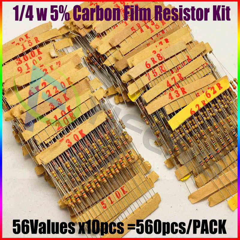 Гаджет  1/4W 5% Carbon Film Resistor Assorted Kit 560 Pcs 56 Values Assortment/Pack/Mix/Selection None Электронные компоненты и материалы