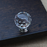 40mm K9 Clear Crystal Furniture Handle Pull Knob Glass Ball Drawer Cabinet Handles Dresser Knobs