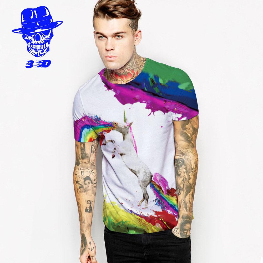 Cool Rainbow Dolphin 3D T Shirt 2016 Mens Hip Hop Fashion Printed Slim Fit O Neck T-shirt Brand Tee Shirt ,Free Shipping(China (Mainland))