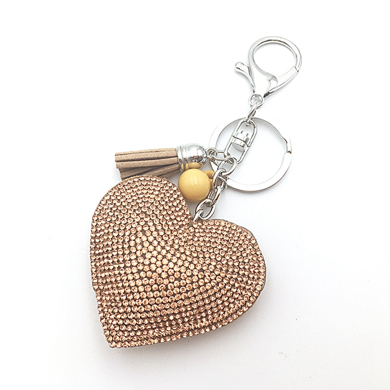 2016 Quality is the first female cute key chain ring rhinestone heart gift item 10 color Mosaic leather tassel like wholesale(China (Mainland))