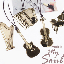 Cute Gold Metal Bookmark Fashion Musial Piano Guitar Bookmark for Book Creative Gift Korean Stationery Free shipping 10017(China (Mainland))
