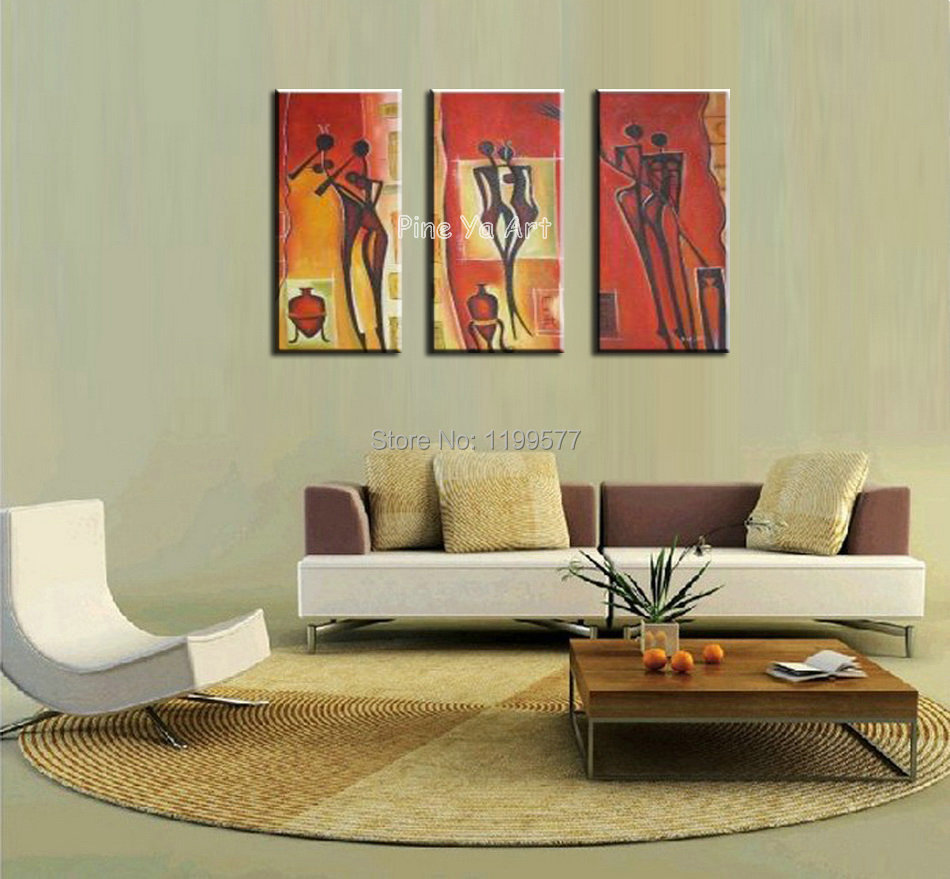 3 Piece Abstract Modern Sexy Nude Wall Art Handpainted