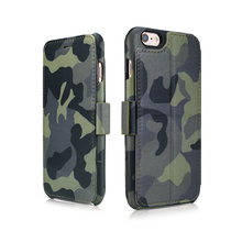 ICARER Three Fashion Colors Camouflage Geniune Leather Wallet Stand Cover Flip phone case For iPhone6s 6 Plus 5.5inch