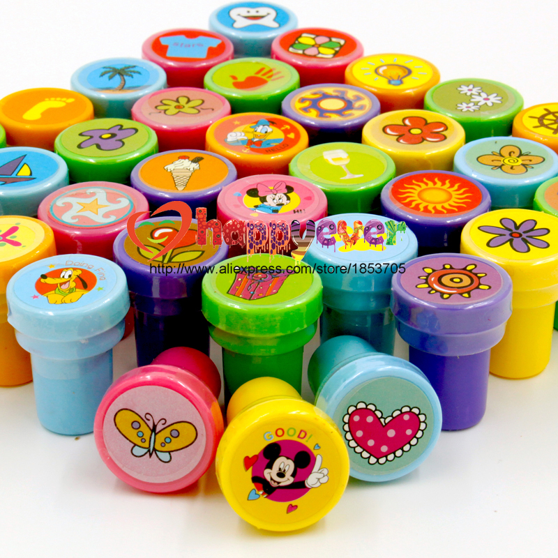 36PCS Self-ink Stamps Kids Party Favors Event Supplies for Birthday Gift Boy Girl Goody Bag Pinata Fillers Fun Stationery(China (Mainland))