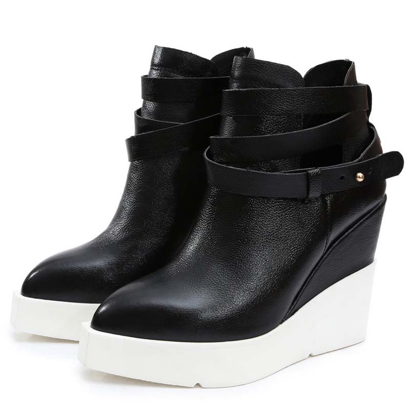 martin boots Autumn and winter two style Full Grain Leather Pointed Toe wedges high-heeled platform ankle boots forwomen<br><br>Aliexpress