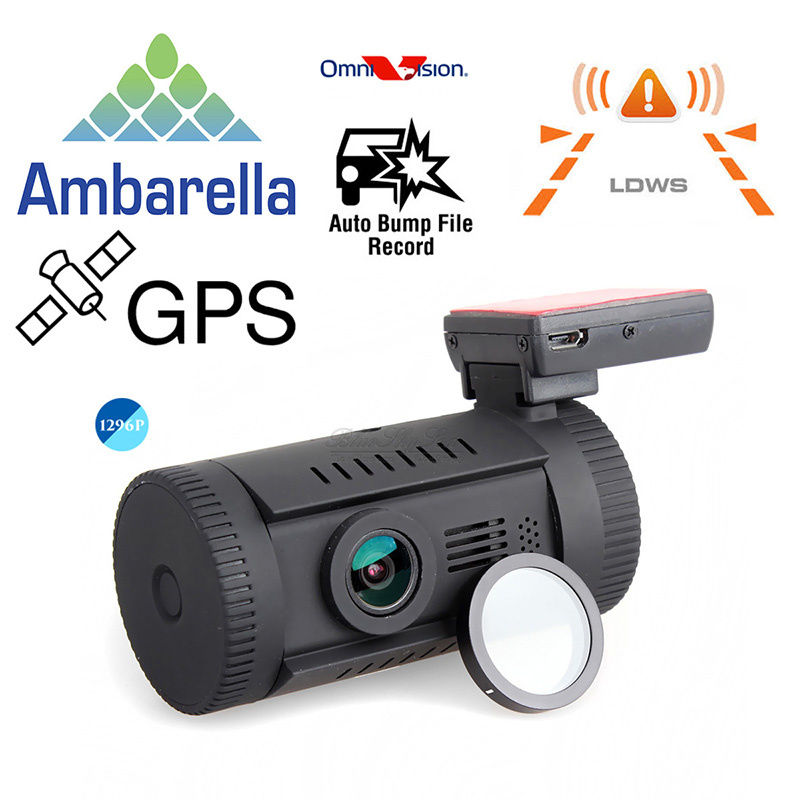Free Shipping Mini 0826 Ambarella A7LA50 Super HD 1296P Car GPS Mount Dash Camera DVR Cam