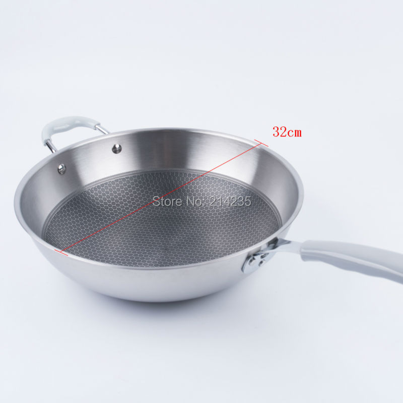 32cm bead stainless steel non stick wok, healthy non coated frying pan, non oil smoke non stick three layer steel frying pan