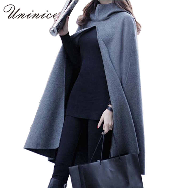 Winter jacket Wool Coat Women Cloak Fashion Overcoat Hooded Cape Autumn Long Outerwear 4E1375(China (Mainland))