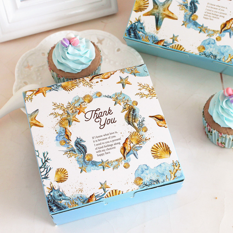 Small Size Sea Shell Mid Autumn Festival Mooncake Box Package Cookie Biscuit Gift Box Dessert Pastry Cake Box(China (Mainland))
