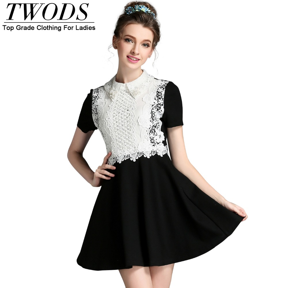 White collar black skater dress