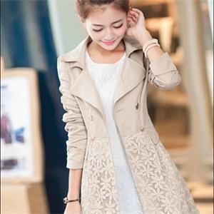 3c Size M L XL XXL 2014 Elegant Slim Long Trench Women Long Sleeve Double Breasted Lace Coats Trench Ladies Beige Green Pink(China (Mainland))