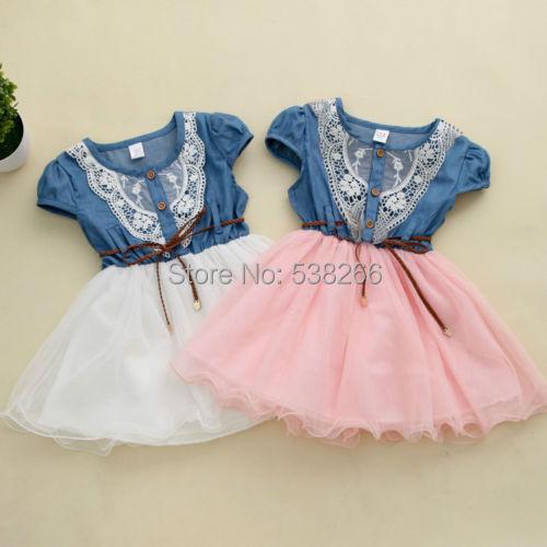 Fashion Girls Kids Princess Flower Lace Denim Tulle Short Sleeve Summer Dress(China (Mainland))