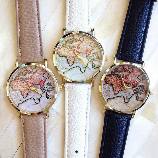 Free shipping 2015 New Hot Sale Fashion World Map belt fashion quartz watch Geneva Wristwatch for women W150(China (Mainland))