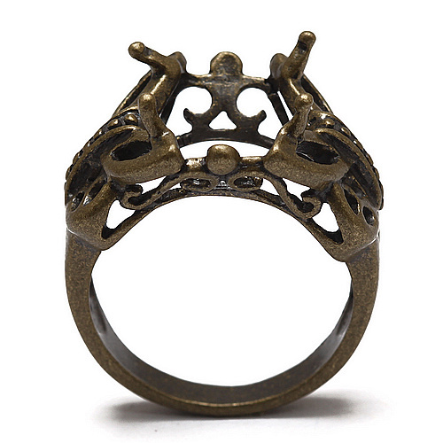 10pcs/lot Antique Bronze Setting Ring Crown Cabochon Finding fit with 12mm Stone BD168(China (Mainland))