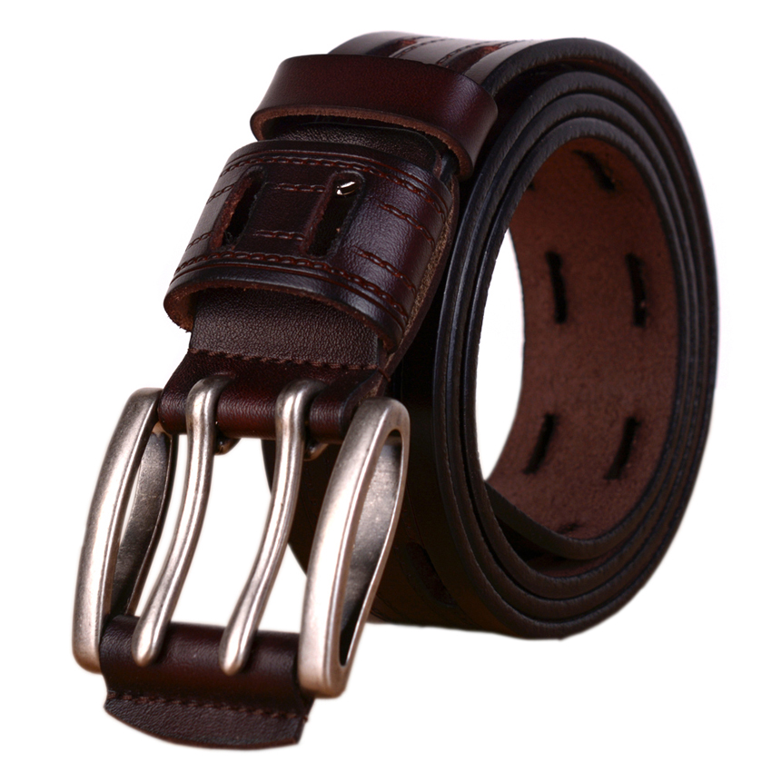 100% High Genuine Leather Belts Men Brand Strap Male Pin Buckle Fancy Vintage Jeans Cowboy Cintos