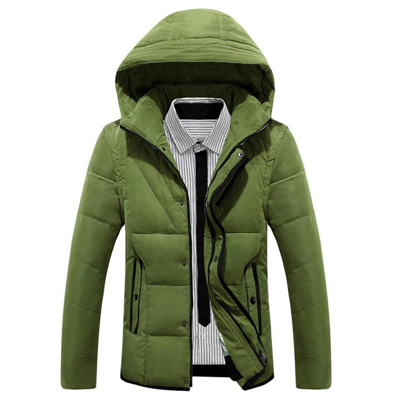 New Winter Hood Men's Down Coat Warm Fashion Brand Men Casual Slim Outwear Down Coat Trench Outdoor Hood Parkas Large Size M-3XL