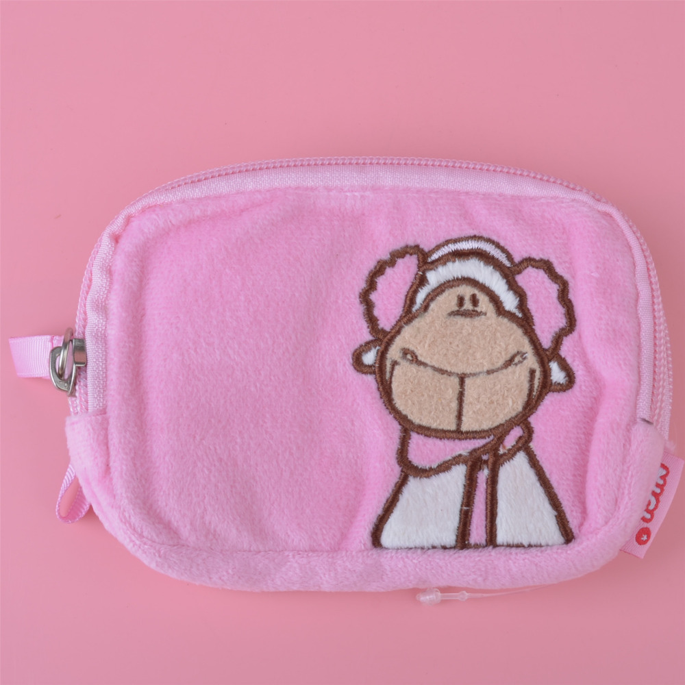Pink Color Scarf Sheep Plush Toy Wallet, Kids Child Purse Gift Free Shipping(China (Mainland))