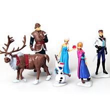 Новый 10 см аниме мультфильм пвх фигурку игрушки анна и эльза ханс олаф кристоф свен фигурки горячие игрушки 6 шт./лот