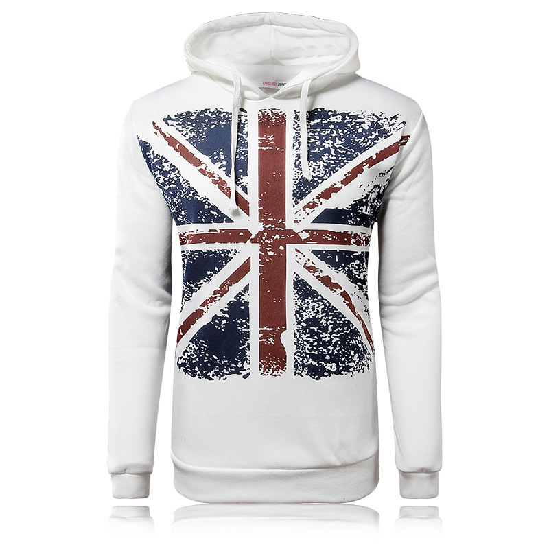2016 New Arrival Casual Suitable Sweatshirts Sport Hoodies British Flag Printing Hoody 100% Cotton Sportswear Men Clothes(China (Mainland))