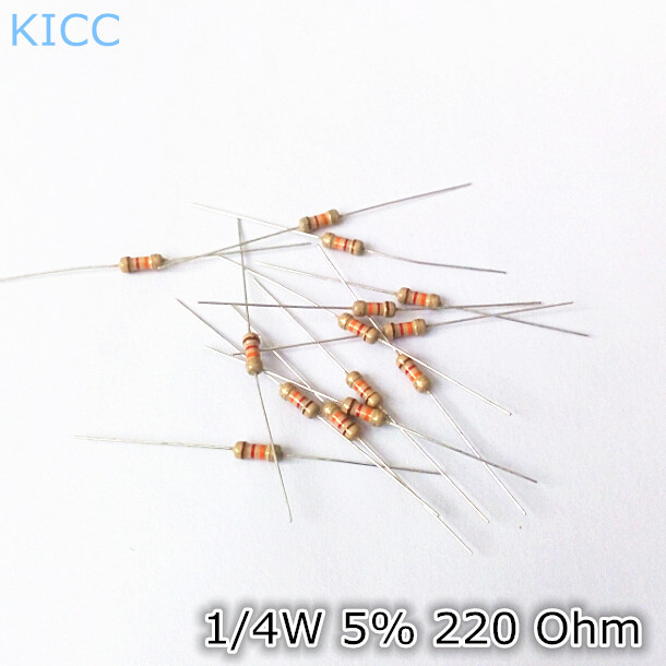 Гаджет  1/4W 5% 220 Ohm Carbon film resistor 0.25W 220R 1/4w Color ring resistance (1000Pcs/Lot) None Электронные компоненты и материалы