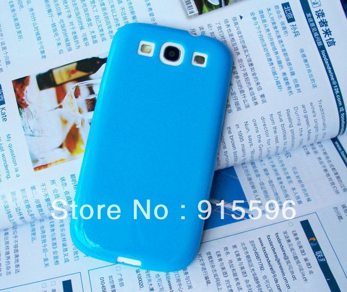 Protective Soft TPU Gel Phone Case For Samsung I9300 Galaxy SIII Cell Phone Jelly Style Blue Color Free Shipping(China (Mainland))