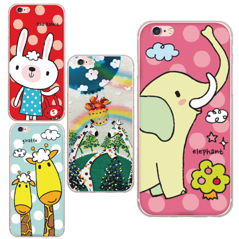 Cute Cartoon Animal Red Rabbit Giraffe Pattern Design Cases For iphone 6 6s Plus With Friendly
