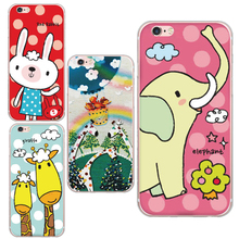 Cute Cartoon Animal Red Rabbit Giraffe Pattern Design Cases For iphone 6 6s Plus With Friendly Environment Soft Phone Shell