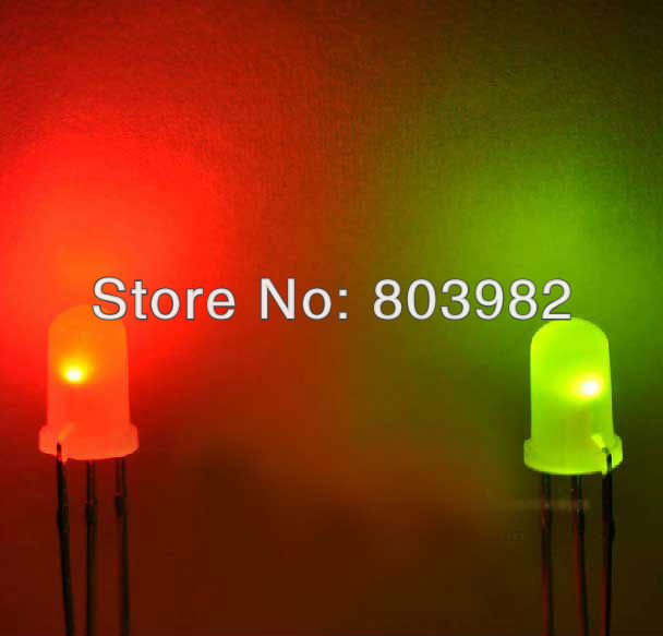 Factory wholesale Common anode 5MM milky white bicolor led Red Green indicator light