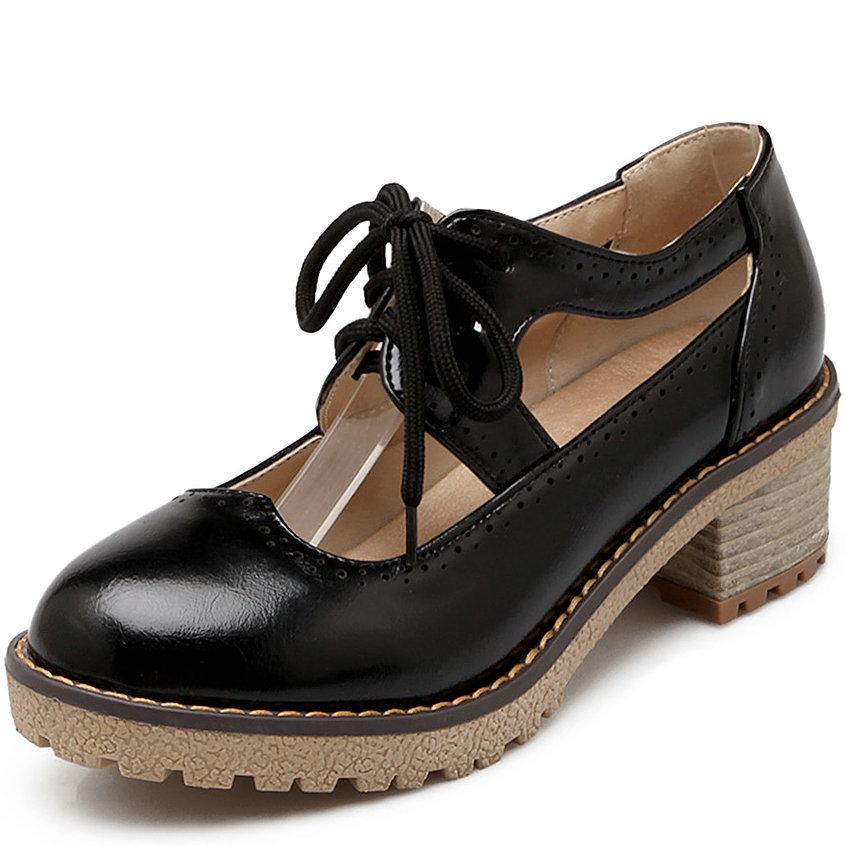 shoes women Cutouts Lace-up women Low heel shoes chunky heel platform shoes women spring summer shoes<br><br>Aliexpress