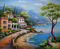 HandPainted European style Oil Painting On Canvas Mediterranean Sea Seascape Oil Canvas Painting Wall Art Picture