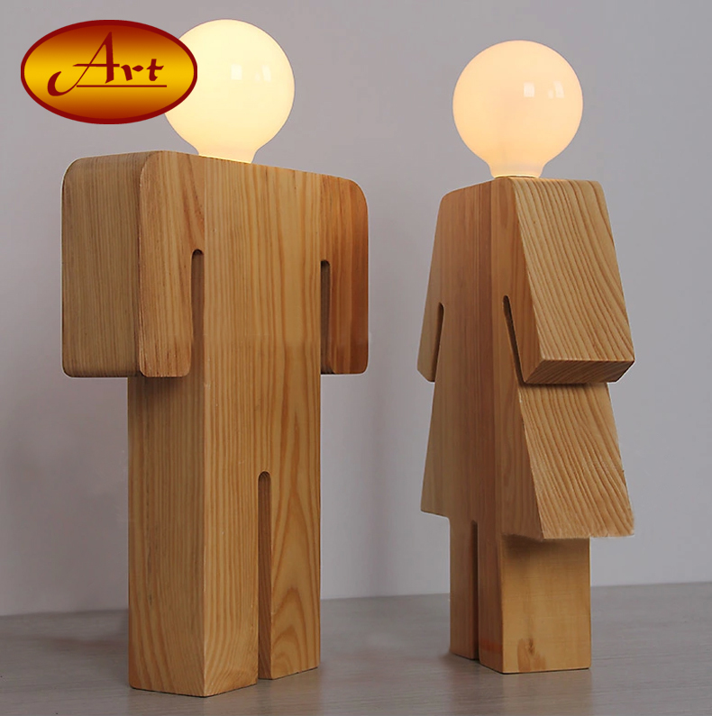 Modern Table Lamp With Wood Base Boy Amp Girl Design E27
