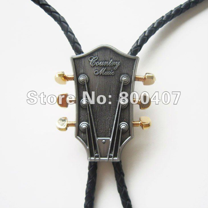 Retail Bolo Tie (Western Country Music Guitar Bolo Tie) Factory Direct Free Shipping BOLOTIE-MU044(China (Mainland))