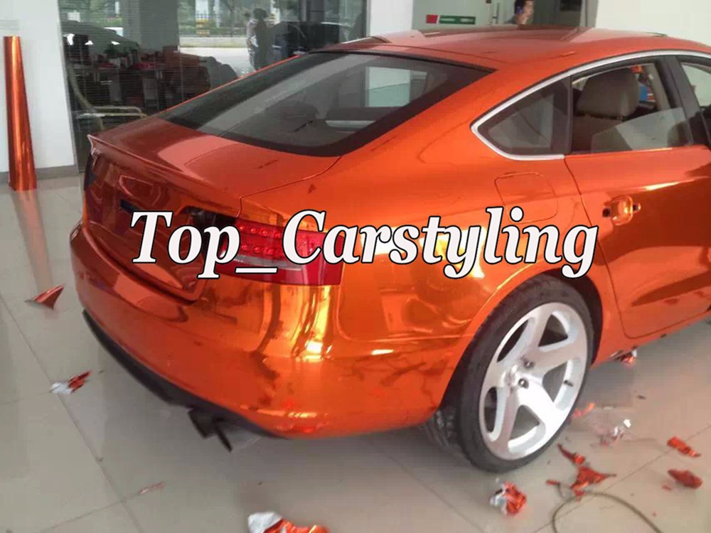 orange chrome mirror car wrapping vinyl film with air free (9)