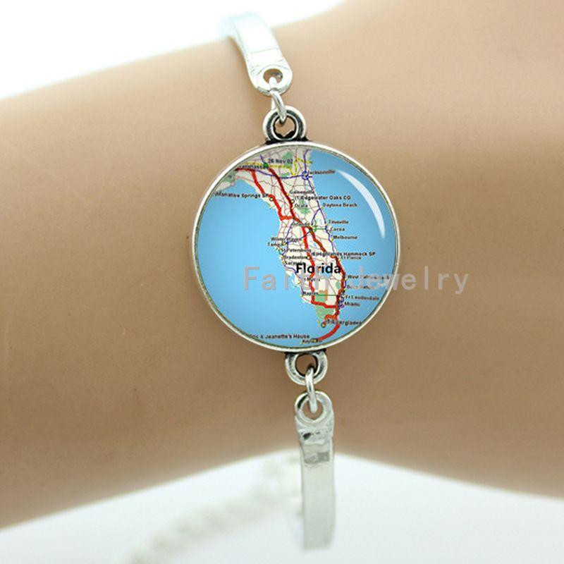 Retro style Florida bracelet, USA state map bracelet, blue sea charm jewelry, keepsake gift for wedding -917(China (Mainland))