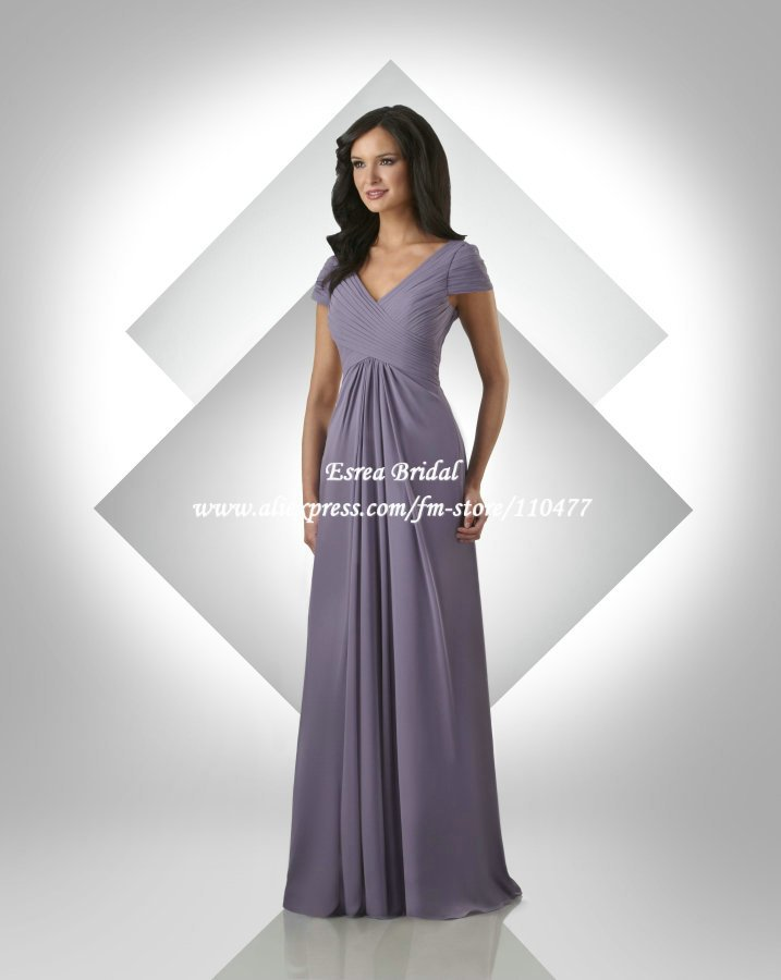 Wholesale v neck pleated chiffon long purple bridesmaid for Short long sleeved wedding dresses
