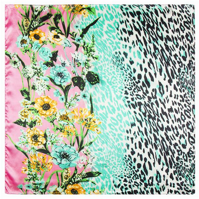 60 см * 60 см 2016 горячих моделей женщин леопарда цветы малый шелковый шарф сатинировки новый