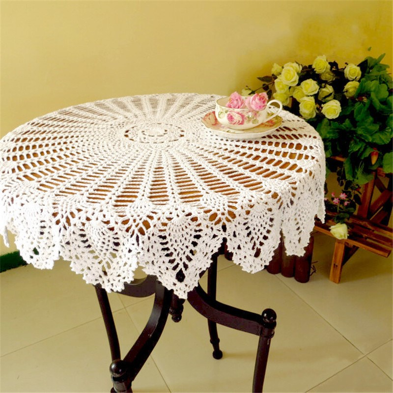 "32"" Hand Crochet Lace Round Table Topper Cloth Runner White Cotton Wedding Home Decor Knit Flower Tablecloth Cover Beige/White(China (Mainland))"
