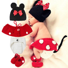 Fashion So cute baby costume photography set kintting baby hat bow bonnet enfant photography baby props newborn crochet outfits(China (Mainland))