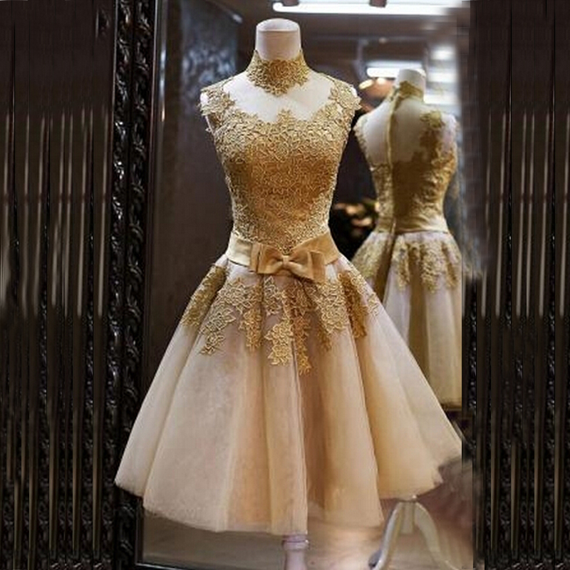 Real Picture 2016 New design Beautiful lace short dress Wedding Dress Champagne Color Bride Gown(China (Mainland))