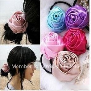 Free Shipping- 4cm Wholesale Retail  Fashion Ladies Rose Flower Hair Bands 24pcs/lot  14 Colors Can Be Choosen