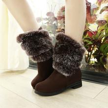 2015 nueva moda de invierno corto tamaño grande 30-52 flock solid pelo de conejo botas de tacón bajo nieve caliente Slip On women shoes HQW-198(China (Mainland))