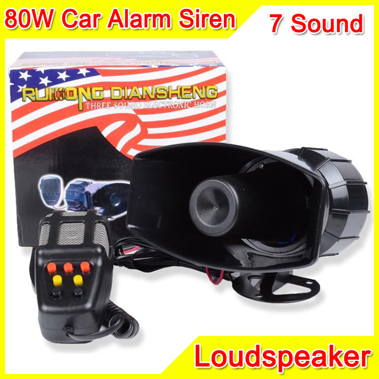 80W 7 Sound Car Electronic Warning Siren Motorcycle Alarm Police Firemen Ambulance Loudspeaker With MIC Police Siren(China (Mainland))