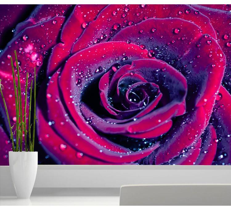 Free shipping red rose 3d wallpaper flowers large mural for 3d rose wallpaper for bedroom